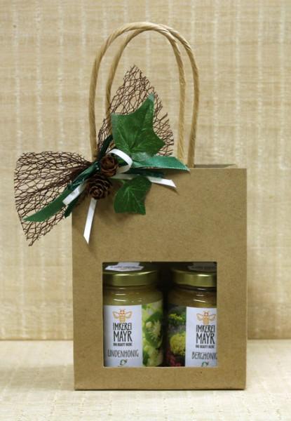 Geschenktasche mit 2x 125g Honig und aufwändigem Ganzjahresschmuck