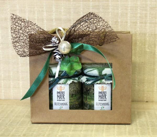 Geschenktasche mit 2x 250g Honig und aufwändigem Weihnachtsschmuck