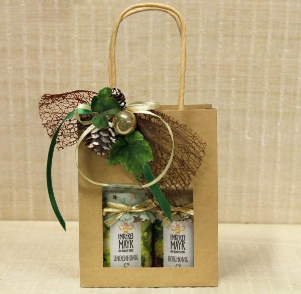 Geschenktasche mit 2x 125g Honig und aufwändigem Weihnachtsschmuck