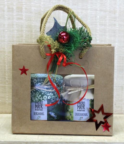 Geschenktasche mit 2 Sorten Honig à 250g und aufwändigem weihnachtlichem Schmuck, Bio-Suisse zertifi