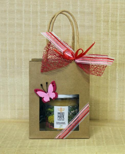 Geschenktasche mit 2x 125g Honig mit Filzdekoration
