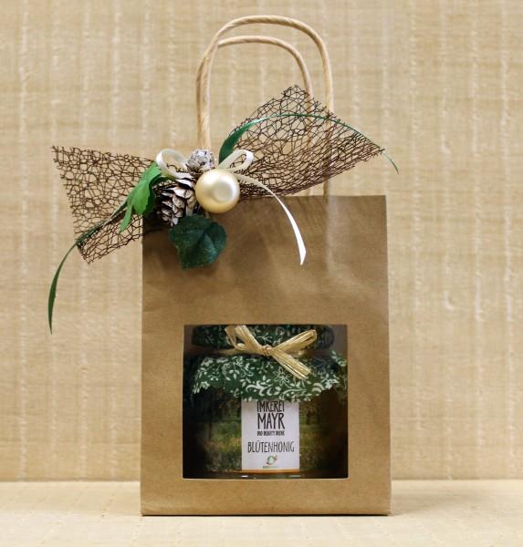 Geschenktasche mit 1x 250g Honig und aufwändigem Weihnachtsschmuck