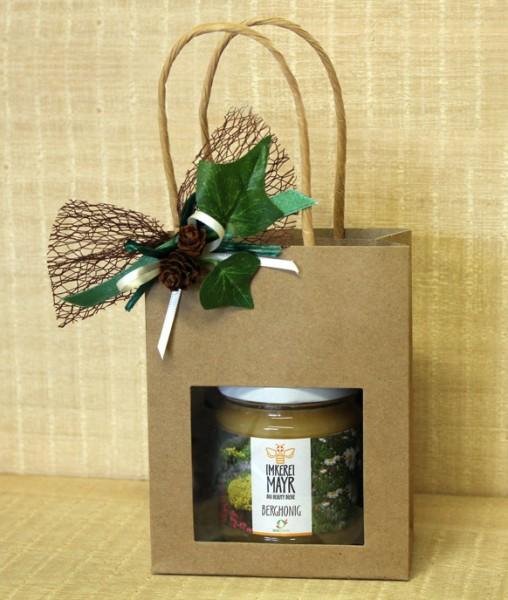 Geschenktasche mit 1x 250g Honig und Ganzjahresschmuck